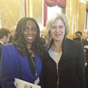 Yvonne & The Former Home Secretary Theresa May at the Santa Marta Group Meeting Dec 2014