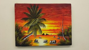 Painting by Refugee resident depicting his interpretation of Palm Cove Society