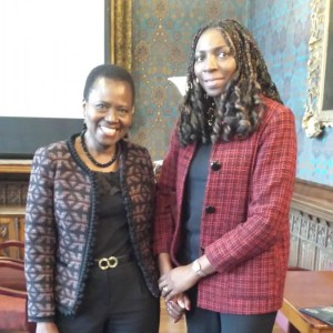 Cecilia Taylor-Camara from CBCEW & Yvonne at St Marys University, Twickenham at the launch of the research centre for Modern Slavery