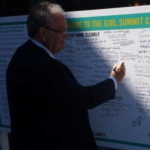 Gerard signing the Girl Summit Charter 2014