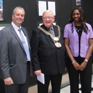 Yvonne & Gerard with the Bradford Lord Mayor at  a Palm Cove Society Exhibition to highlight  the plight of  Unnacompanied Asylum Seeking Children Leaving Care.