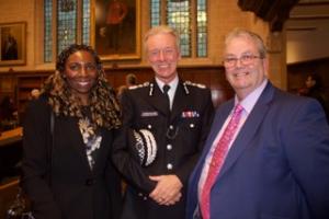 Former Metropolitan Police Commissioner Sir Bernard Hogan-Howe with Yvonne & Gerard