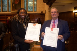 Yvonne Hall & Gerard Stocks with High Sheriffs Award Certificates
