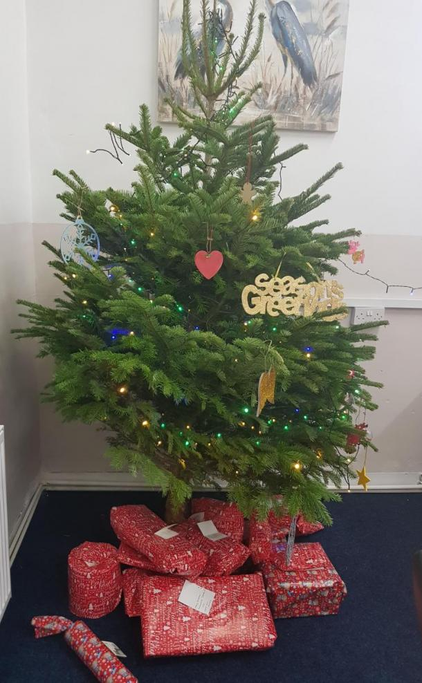 Tree donation from Tong Garden Centre with donated decoration added